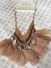 Freedom@ Topshop Beautiful Festival Feather necklace Chain BNWT! Last One