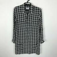 Equipment Femme Blouse Tunic Mini Dress Size XS Black White Plaid Silk Womens