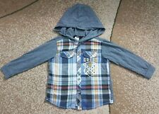 Guess Baby Guess Baby Boy Top Shirt Hooded Gray Plaid 24 month