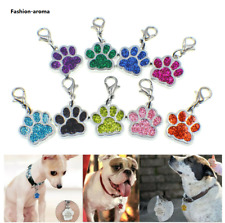 50p Pet ID Dog Cat Tags Paw Print Dangle Hang Charm+ Lobster Clasp Keyring