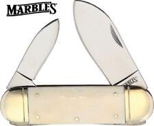Marbles Smooth White Bone Sunfish Folding Pocket Knife Large Elephant Toe MR581