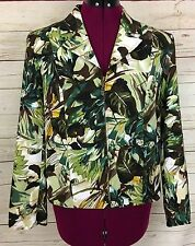 Renaissance Petite Green Brown Tropical Floral Zippered Jacket Size PS NWTs