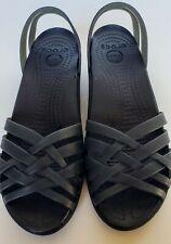 CROCS Huarache Mini Wedge Sandals Jelly Shoes Jellies Black Women's Size 5W