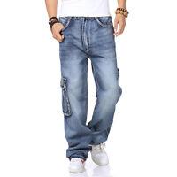 Plus Size Men's Cargo Jeans Hip Hop Denim Pants Casual Loose Style Waist W30-W46