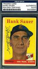 HANK SAUER PSA DNA COA Autograph 1958 TOPPS Authentic Hand Signed