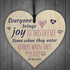 Bring Joy To The Office Colleague Novelty Wood Heart Leaving Gift Office Plaque
