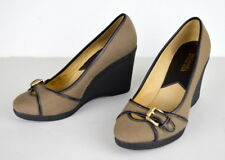 MICHAEL KORS 7.5M  Pin Stripe Canvas Black Leather Trim Wedge Heel Shoes EUC