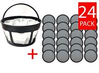 Premium  Replacement 24 Water Filter Discs for Mr.Coffee Machines  + Basket