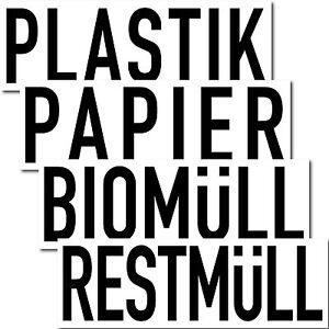 Set 4 Aufkleber 20cm Plastik Papier Bio Rest Müll Abfall Trennung Eimer Tonne