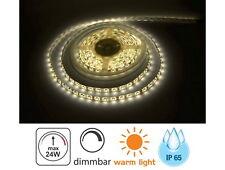 (4,98 EUR/m) LED Aussen Stripe 5m IP65 dimmbar - 24W 3000K Lichtband Feuchtraum