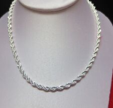 18 INCH STERLING SILVER PLATED 4 MM ROPE CHAIN NECKLACE