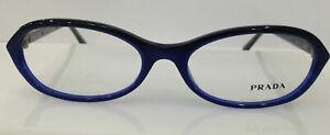 Prada VPR 05O Blue EAF-1O1 Plastic Eyeglasses Frame 51-16-135 Italy NEW RX