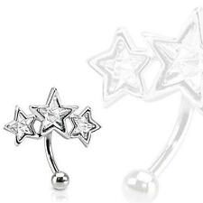 Ring Curve Paved Star Shaped Czs 316L Surgical Steel Triple Star Eyebrow