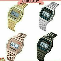 CLASSIC DIGITAL RETRO WATCH F-91W SPORT ALARM   GOLD SILVER BLACK ROSE GOLD