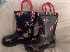 New Toddler Blue W/ Stars American Flags Austin Rain Boots, Size 5 Lights Up!