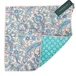 NWT Peter Millar Reversible Pocket Square Handkerchief Paisley Silk Blend Italy