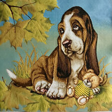 Gobelin Tapestry Panels Textile Picture Dog Basset Hound Crafts Fabric Ca 50x50