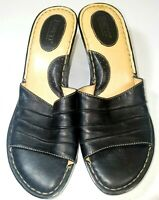 """Born Hand Crafted Women's Black Wedge Leather Sandals Size 9/40.5  3"""" Heel"""