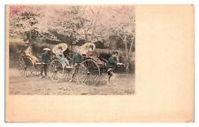 Early 1900s Geishas in Rickshaws, Japan Postcard *5U7