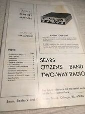 Sears Citizens Band 2 Way Mobile Radio Owners Manual, Model 934.36741600.