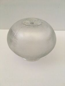 Multi Lined Grid Clear Glass Textured Round Ceiling Fan Light Replacement Globe