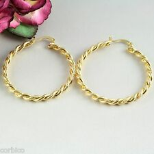 E11 24K Yellow Gold Filled 4cm Ladies Frosted Twist Creole Hoop Earrings