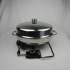 "Vintage FARBERWARE 12"" Dome Lid Stainless Steel ELECTRIC SKILLET 344-A w/trivet"