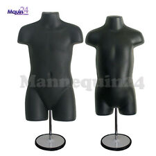 Child & Toddler Torso Mannequins Set - Black + 2 Stands + 2 Hangers Kids Forms