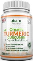 Turmeric Curcumin Organic 365 Capsules 600mg High Strength Organic Black Pepper