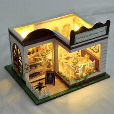 DIY Kit Wooden Dollhouse Cake Shop Dessert House with Furniture Light Music Gift