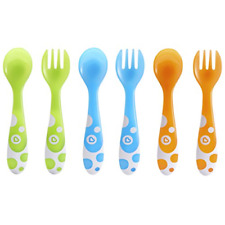 6 Piece Fork And Spoon Set Polypropylene Spoon Safe Self Feeding Rounded Fork