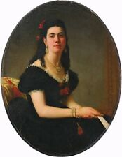 More details for portrait of a young lady antique oil painting by joseph tonneau (1831-1904)