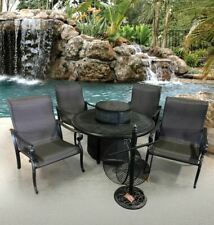 Wyndermere 6pc Fire pit Table Chair Outdoor Aluminum Patio Furniture Sunbrella