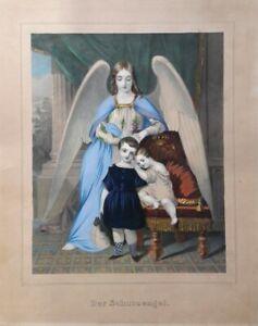 Wunderschöne Lithografie Biedermeier - DER SCHUTZENGEL handkoloriert