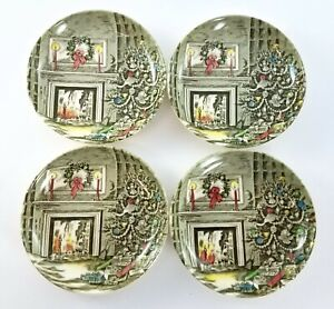 """Johnson Brothers China MERRY CHRISTMAS Plates 4 1/4"""" Made in England Set of 4"""