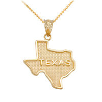 10k Yellow Gold Texas State United States Map Pendant Necklace