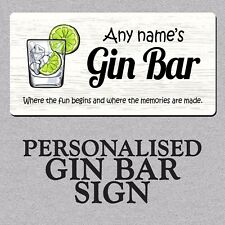 Personalised Gin Bar Metal Plaque/Sign Party Drink Gift Cocktail