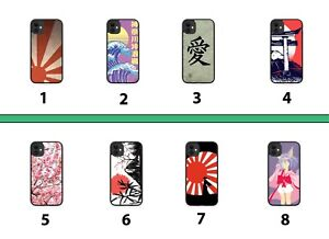 Japanese Rubber Phone Case Cover Japan Writing Rising Sun Anime Waves Flag 8036A