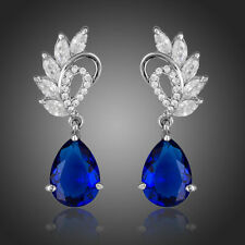 NEW ELEGANT CLEAR AND DARK BLUE COLOR CUBIC ZIRCONIA WATER DROP EARRINGS