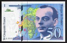 RARETE ; 50 Francs SAINT EXUPERY;1992 ; Série A 000043598 ; NEUF; UNC /  L208