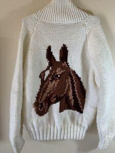 Vintage Men's Medium Horse Head Cowichan Wool Button Shawl Cardigan Sweater