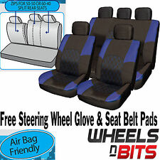 VW Golf MK1 MK2 MK3 MK4 MK5 BLUE & BLACK Cloth Seat Cover Set Split Rear Seat