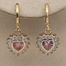 18K Gold Filled - Luxury Earrings Flower Heart Jewelry Pink Quartz Zircon Gift
