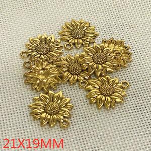 100pcs 22*19mm Beauty Sunflower Charms Antiuqe Gold Tone Pendant Bead Making