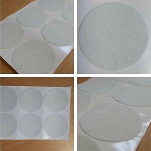 Felt Circles Adhesive Baize Sticky Backing Flock Pads Back White 78mm Feltac