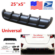 "25""x5"" Matte Black ABS Auto Car Rear Shark Curved Add on Bumper Lip Diffuser Kit"