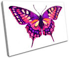 Butterfly illustration SINGLE CANVAS WALL ART Picture Print VA
