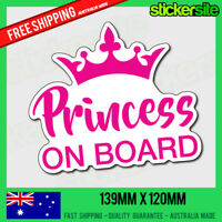 PRINCESS ON BOARD Sticker - Princess Baby on Board - Car Window Sticker Decal