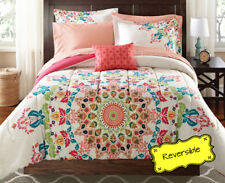 8-PC King Size Coral Pink Reversible Medallion Comforter Bedding Set W Sheets