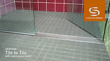 Stainless Steel Lineal Drain with Glass Inserts, Tile to Tile, 1300mm